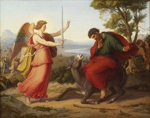 """Balaam y el ángel"", pintura de Gustav Jäger."