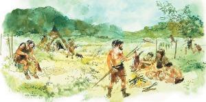 Ilustración de un campo de cazadores-recolectores
