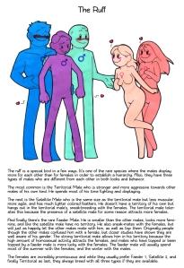 Un ejemplo del arte de Humon, describiendo la estrategia de apareamiento de los combatientes.